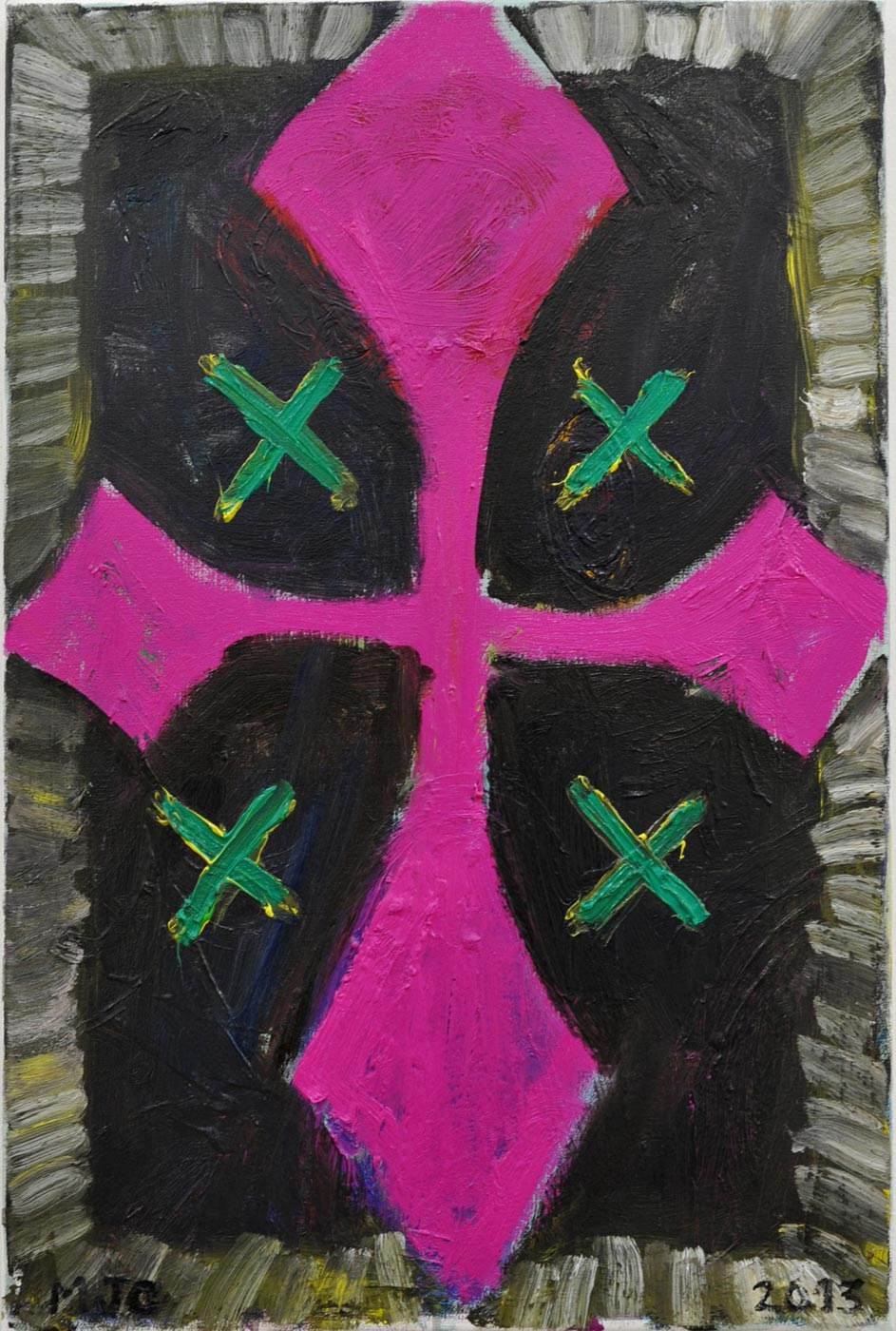 Manuel  Ocampo - Pink Cross with 4 Green X's, 2013