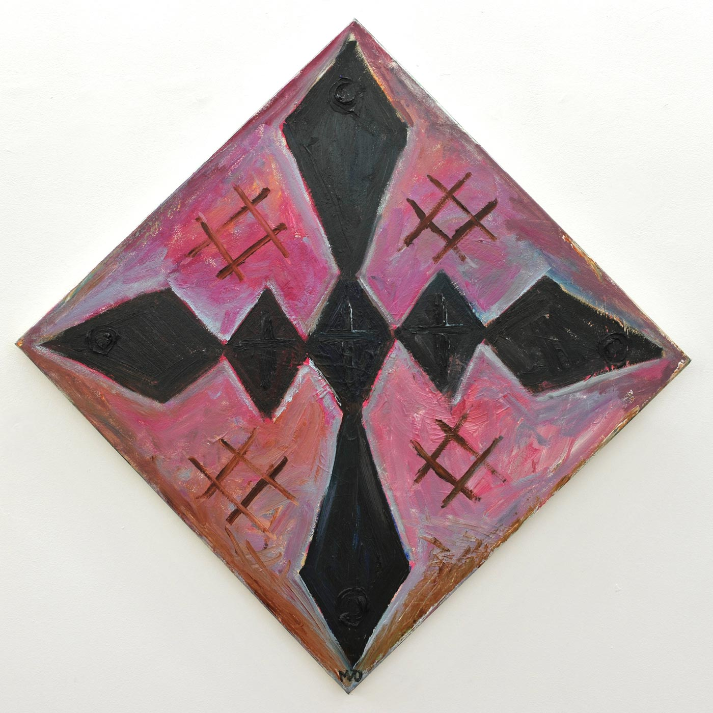 Manuel  Ocampo - Brown Cross with 4 Cross-Hatch, 2013