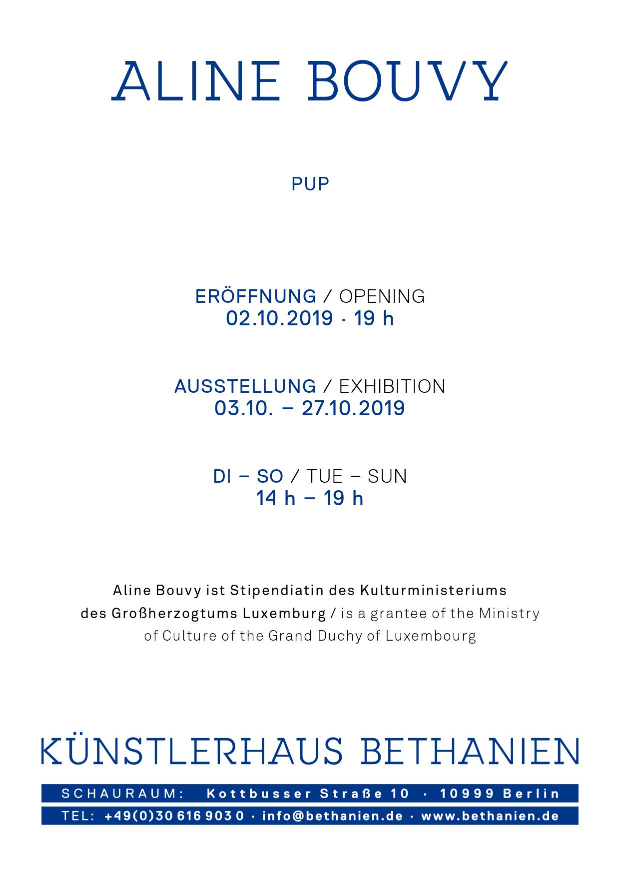 "Exhibition ""Pup"" by Aline Bouvy at Künstlerhaus Bethanien, Berlin (DE)"